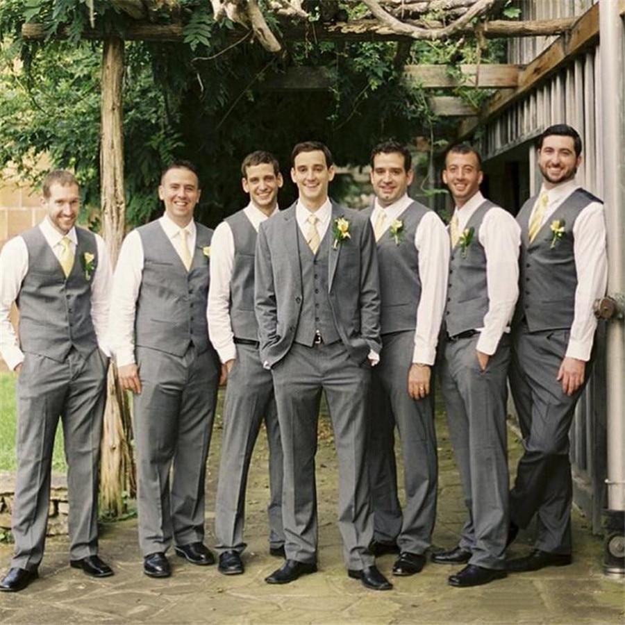 2020 Custom Made Summer Style Groom Mens Suits High Quality Grey Best Groom Wedding Tuxedos For Groomsmen (Jacket+Pants+Vest)