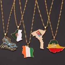 Страна арабский Ирак Африка эфиопская карта и кулон в форме флага ожерелье золотистого цвета модные ювелирные карты из акрила этнические подарки