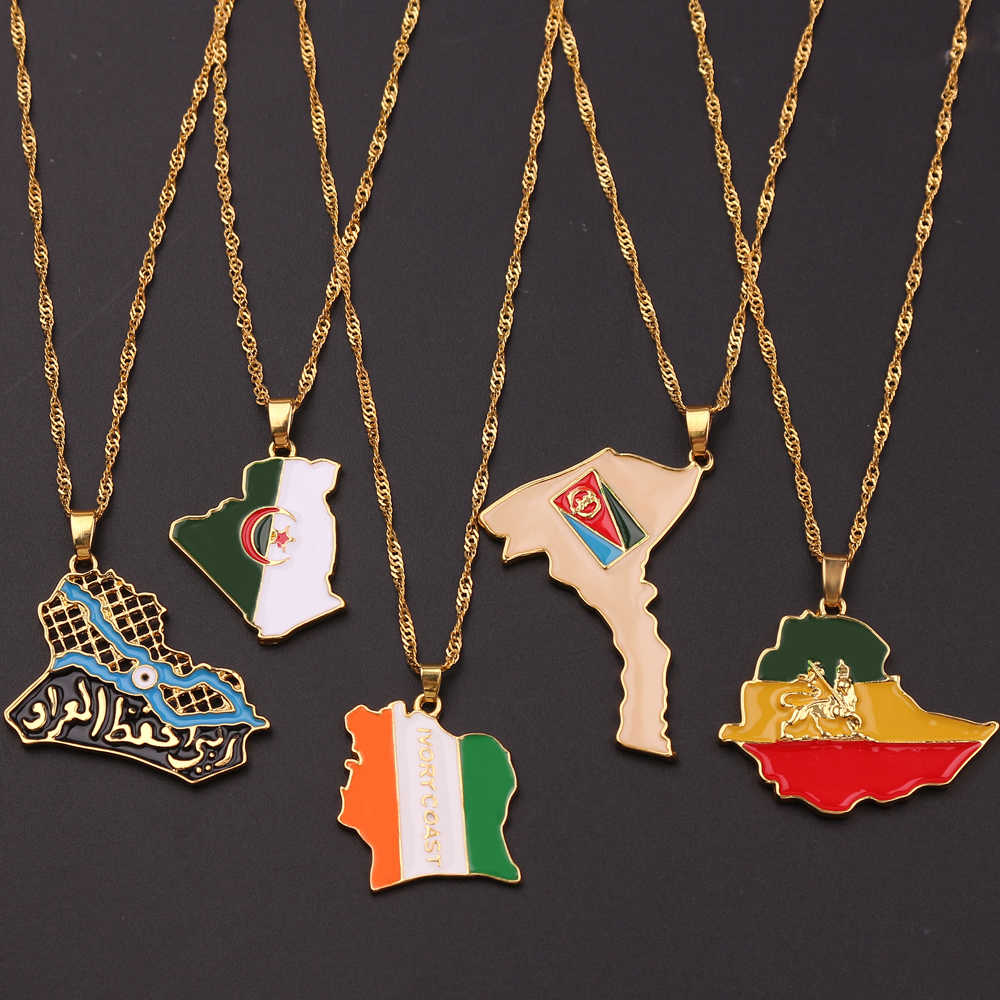 Country Arab Iraq Africa Ethiopia Algeria Map & Flag Pendant Necklace Gold Color Trendy Jewelry Maps of Algeria Ethnic Gifts