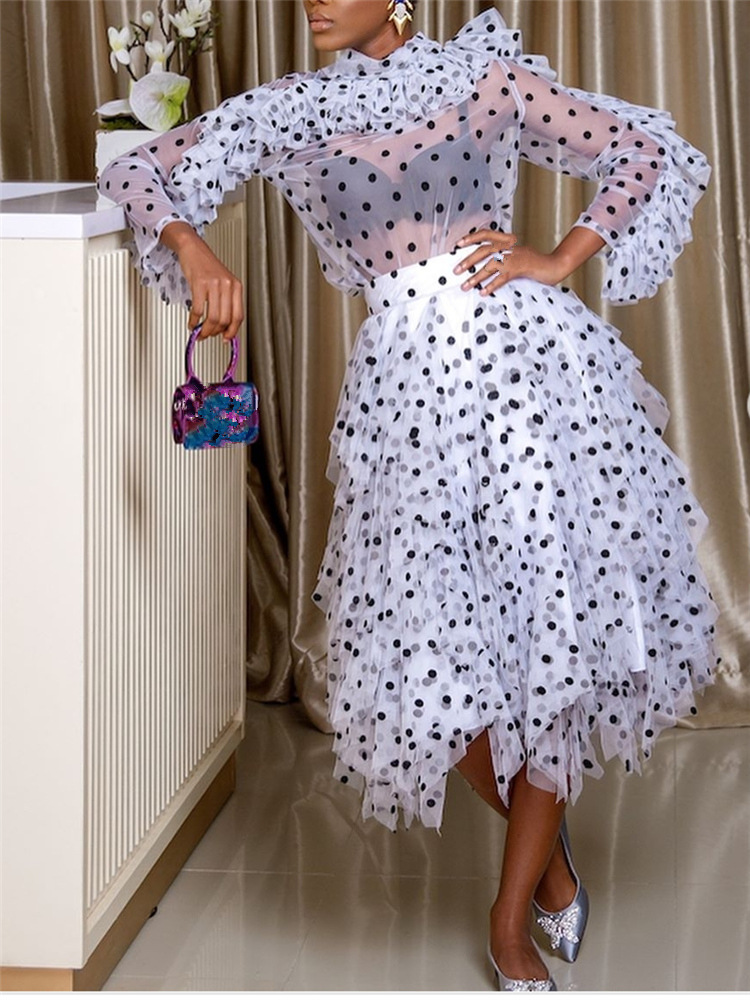 White New Fashion Points Illusion Cocktail Dresses High Neck Long Sleeves Ruffles Sexy Party Gown Cheap Price High Quality
