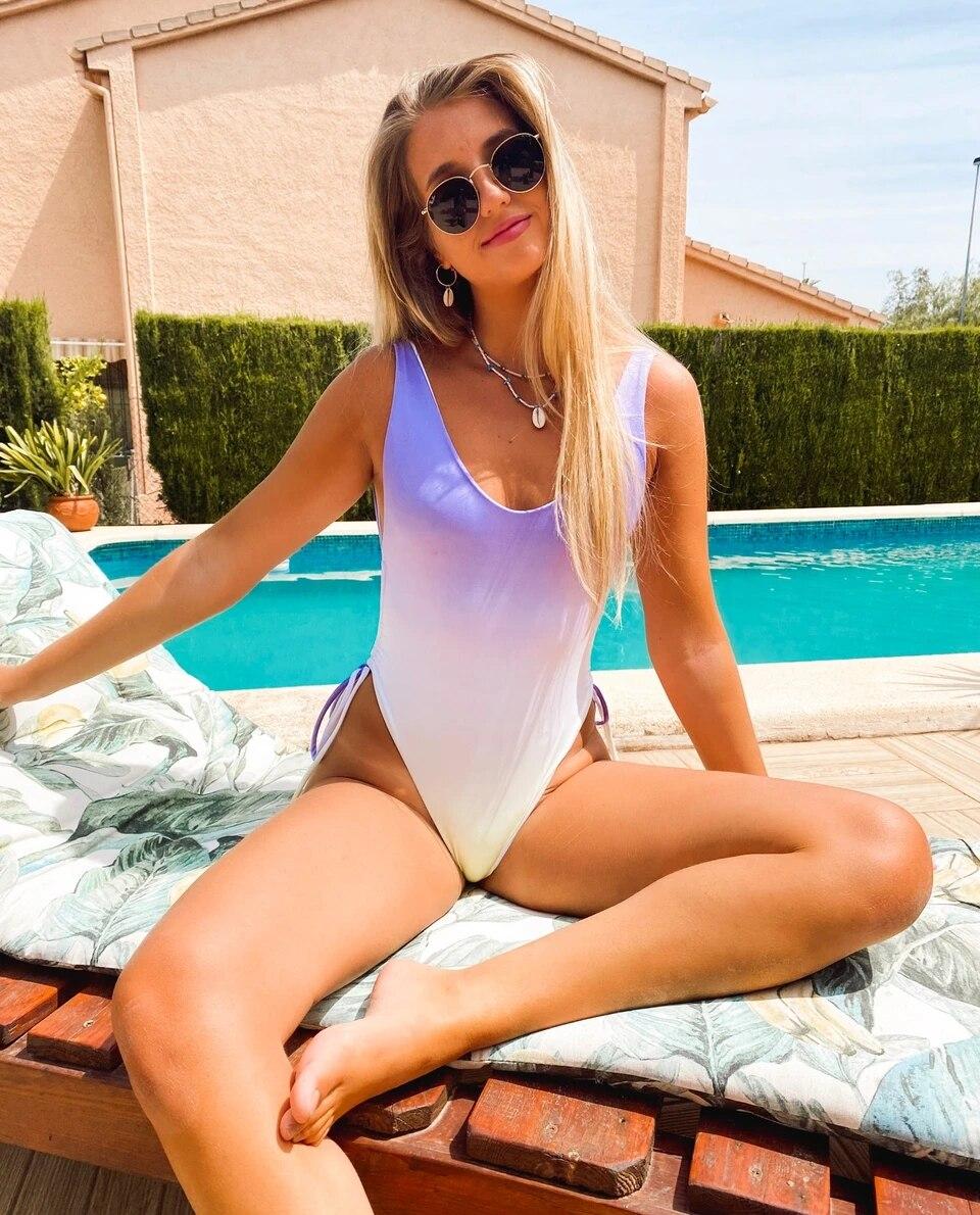 Bañador de una pieza para mujer, traje de baño con escote en V profundo, Cintura alta con cordón interior lateral, conjuntos de playa para verano