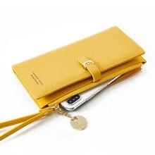 Moda feminina carteira de couro do plutônio senhora bolsa telefone com zíper bolso titular do cartão pulseira feminina longas carteiras para senhoras carteira