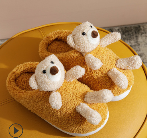 Strict Indoor Parent-child Shoes Children's Bear Plush Shoes Baby Cotton Slippers Kids House Slippers Cartoons Kids Slippers For Girls