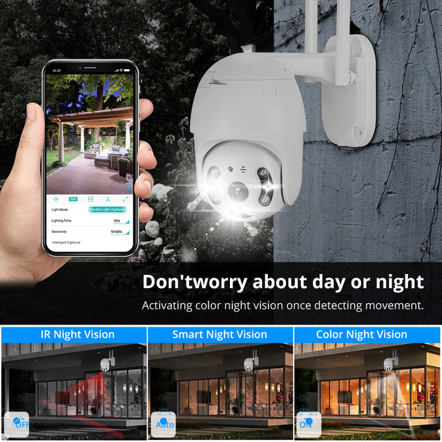 MISECU H.265X PTZ Wifi IP Camera 1080P 5MP Speed Dome AI Security Camera Wireless 2 Way Audio Outdoor Waterproof IR Color Night 3
