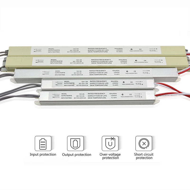 DC 12V60W 5A 48W 4A 36W <font><b>3A</b></font> 25W Led Ultra Thin Light Box Mini Power Supply LED Built-in Variable Voltage Drive Strip Shape Driver image