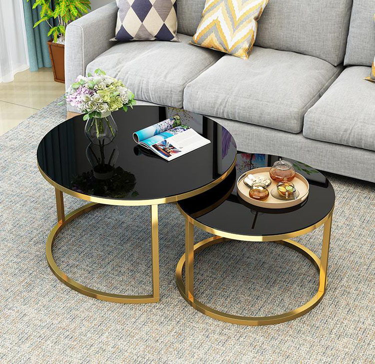 EU RU Free Shipping Tempered Glass Round Coffee Table For Living Room 2 In 1 Combination Cafe Table Easy Assembly Center Table