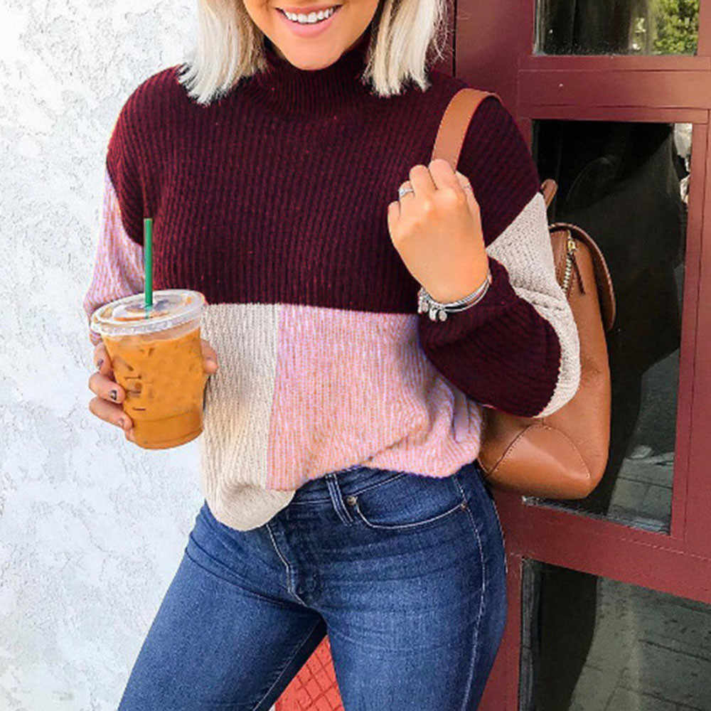 Womail de punto de cuello alto suéter de mujer Colorblock Jumper Pullover blusa superior de pie de manga larga de Patchwork suéter de las mujeres