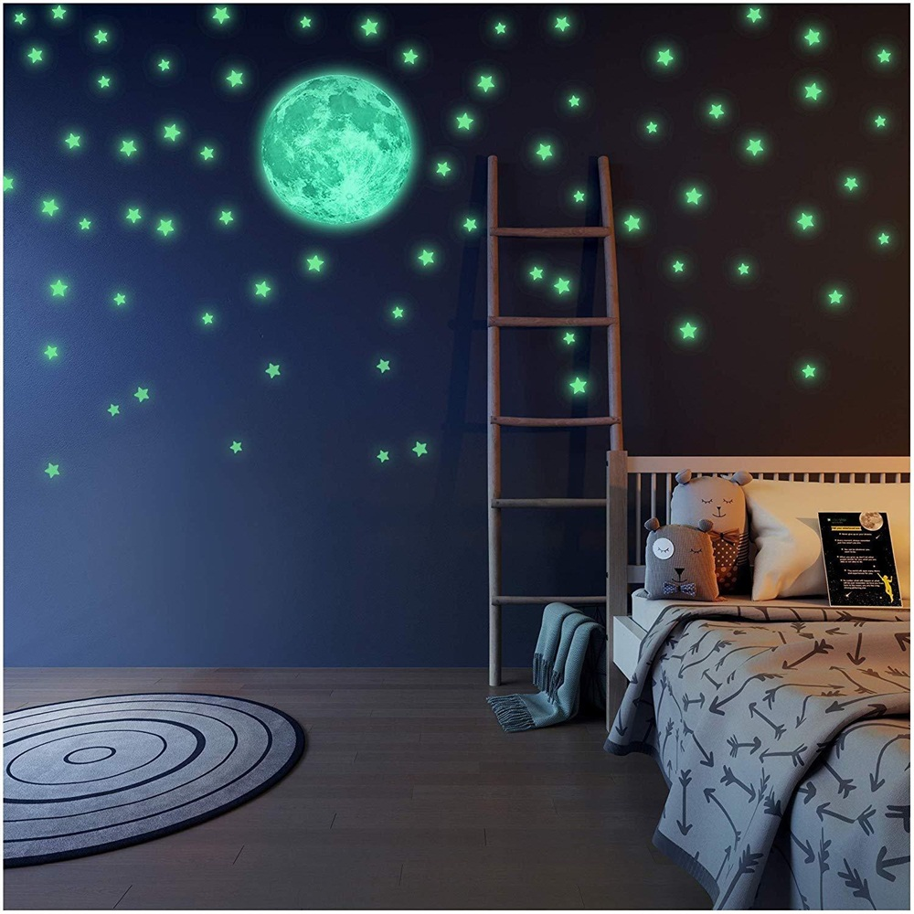 Wall Stickers Decal Glow In The Dark Luminous Stars And Moon Planet Space