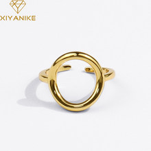 XIYANIKE-Anillo de Plata de Ley 925 con hueco redondo, joyería romántica con apertura de temperamento para parejas