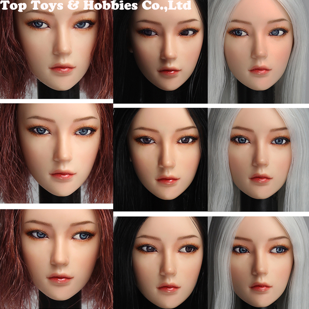 SUPER DUCK 1/6 SDDX02 Sexy Asian Girl Head Scuplt Moveable Eyes Version For 12inch Phicen Tbleague Jiaoudoll  Pale Figure Body