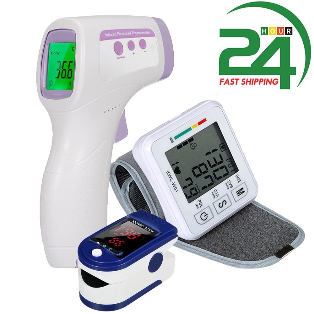 тонометр Цифровой монитор кровяного давления на запястье тонометр и Пальчиковый Пульсоксиметр кислородный и бесконтактный термометр для ...