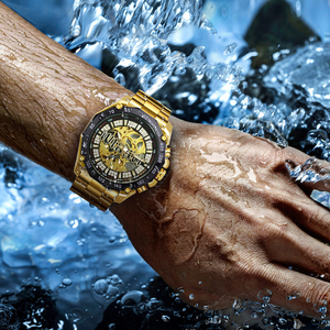 Image 5 - זוכה הרשמי היפ הופ זהב אוטומטי שעון גברים יהלומי אייס מתוך שלד מכאני שעונים מותג יוקרה פאנק שעוני יד