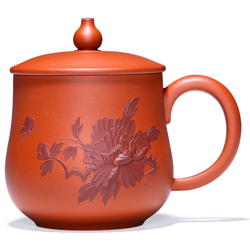 Ancient Yue Tang Yixing Boccaro Cup Full Manual Raw Ore Applique Teacup Famous To Work In An Office Tea Cover Cup, Red Clay,