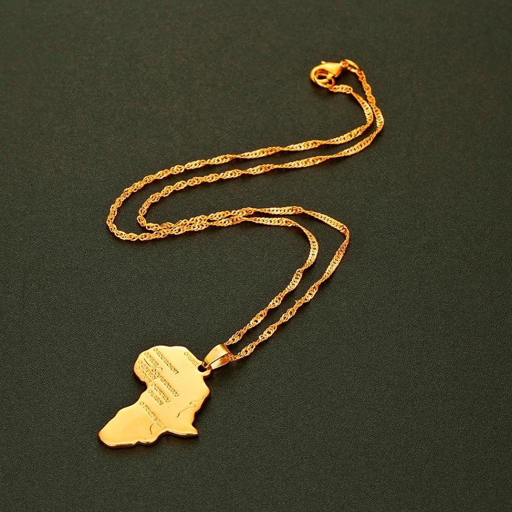 CHENHXUN CHENGXUN кулон Карта Африки ожерелье подарок золотой цвет длинная цепочка торговля Африканская Карта для мужчин и женщин модный подарок для ювелирных изделий
