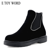 E TOY WORD Large size women's boots 34 43 ankle boots women autumn winter shoes warm low heel zipper round toe flat Martin boots