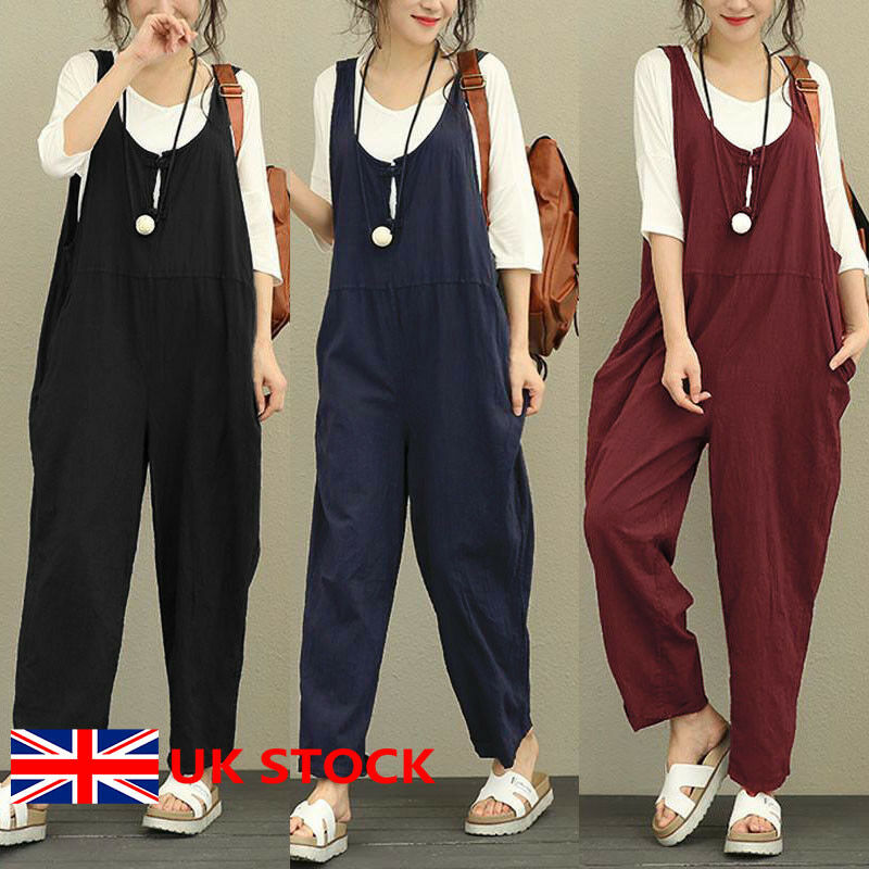 Women Wide Jumpsuit Rompers Casual Dungaree Harem Trousers Overall Loose Pants