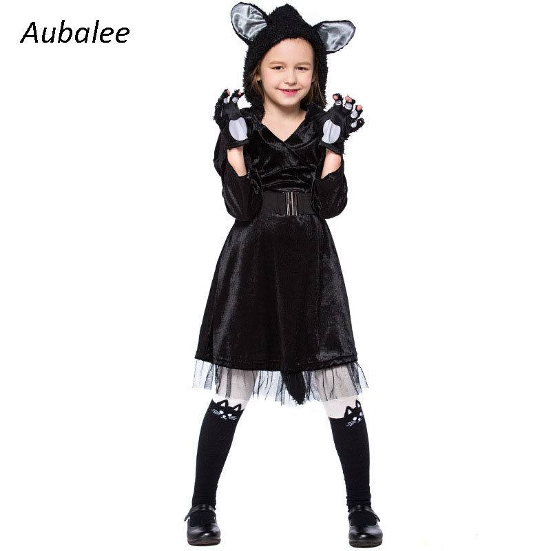Child Girls Kitty Cosplay Kids Halloween Black Cat Animal Costumes Cute Cat Teen Girl Carnival Party Dress Up