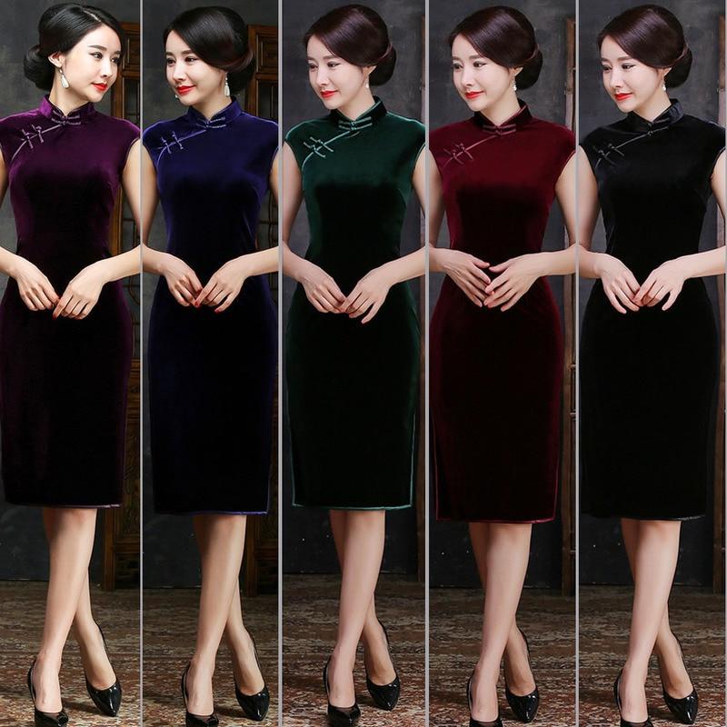 2019 Vestido De Debutante Imported High-grade South Korean Velvet Self-improvement Fashion New Retro Cheongsam Hongyun Woman
