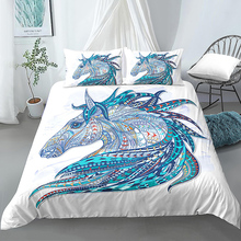 Duvet Cover And Pillowcase 2/3Pcs Bedding Sets Boho Horse Head Pattern Quilt Cover Comforter Duvet Cover Set mxdfafa anime pokemon duvet cover set cartoon bedding sets luxury duvet cover sets 3pcs include 1 duvet cover and 2 pillow case