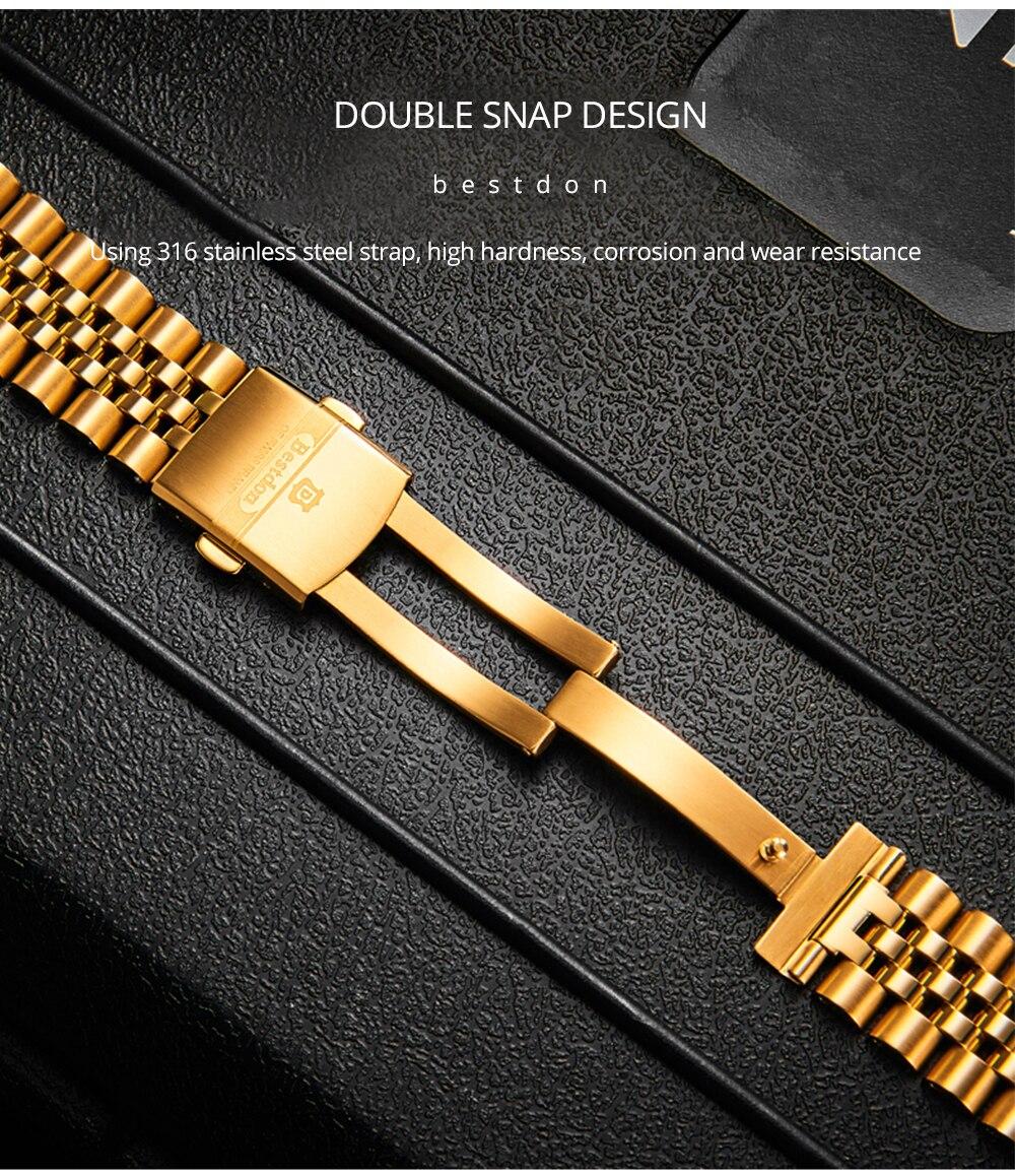 Автоматические Мужские часы bestdon Золотые механические швейцарские