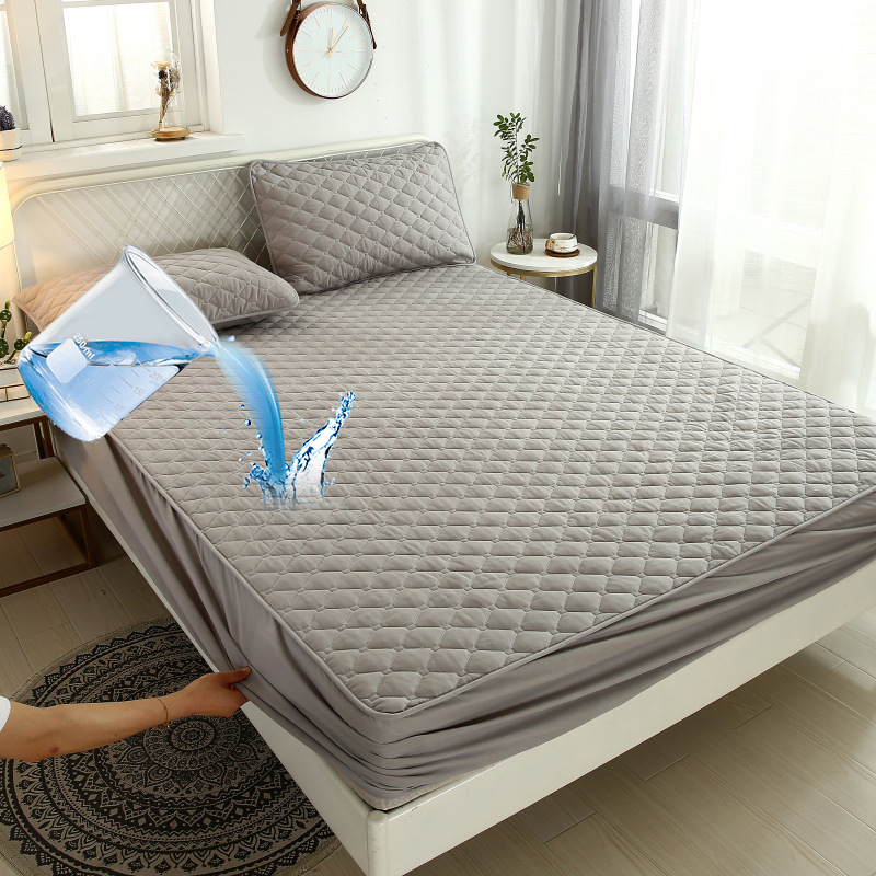 1pcs Waterproof Mattress Protector Washable Bed Cover Queen King Quilted Solid Color Fitted Sheet Style Mattress