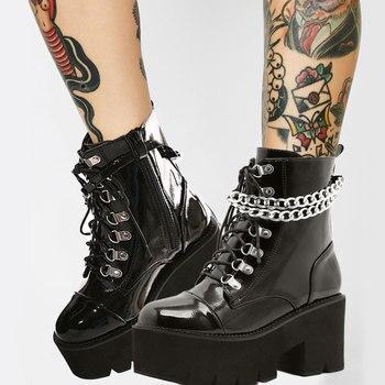 Botas góticas de charol para mujer, botines sexys con plataforma de tacón grueso y cadenas, estilo Punk, con cremallera, color negro