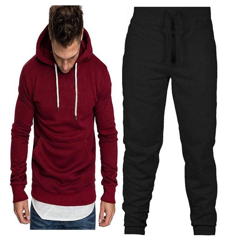 DIHOPE 2 Pieces Set Tracksuit Men New Brand Autumn Winter Hooded Sweatshirt +Drawstring Pants Male Stripe Patchwork Hoodies
