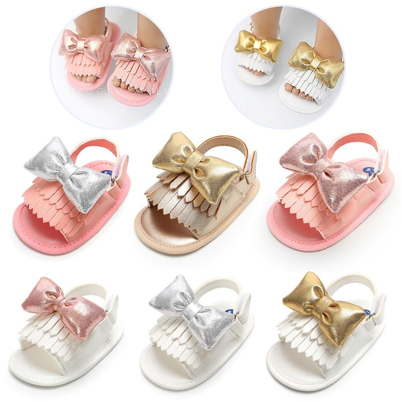 2019 Brand New Cute Newborn Infant Baby Girls Bowknot Princess Shoes Toddler Summer Sandals PU Non-slip Rubber
