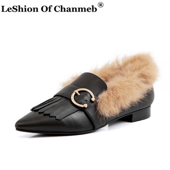 Fashion Full Grain Leather Fur Loafers for Women Ladies Size 33-43 Pointed Toe Tassel Fringe Flats Real Rabbit Fur Casual Shoes