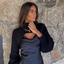 Женский укороченный вязаный свитер с косами ardm Топ длинным