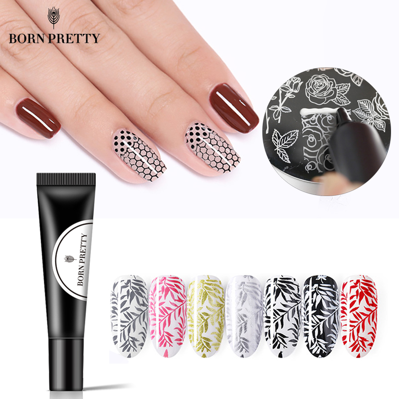 BORN PRETTY Nail Stamping Gel Polish 8ml Black White Stamp Print Oil UV Gel Varnish Soak Off Varnish For Nail Art Stamping Plate
