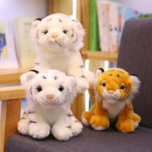 Mini siedzi zabawkowe pluszowe tygrysy dla dzieci dzieci śliczne obsługiwane lalka zwierzę dzieci kreatywny prezent Home Decor prezent na boże narodzenie 1pc 12cm tanie tanio NoEnName_Null CN (pochodzenie) Tv movie postaci 3 lat Tiger Lalka pluszowa nano Miękkie i pluszowe Unisex  Animals