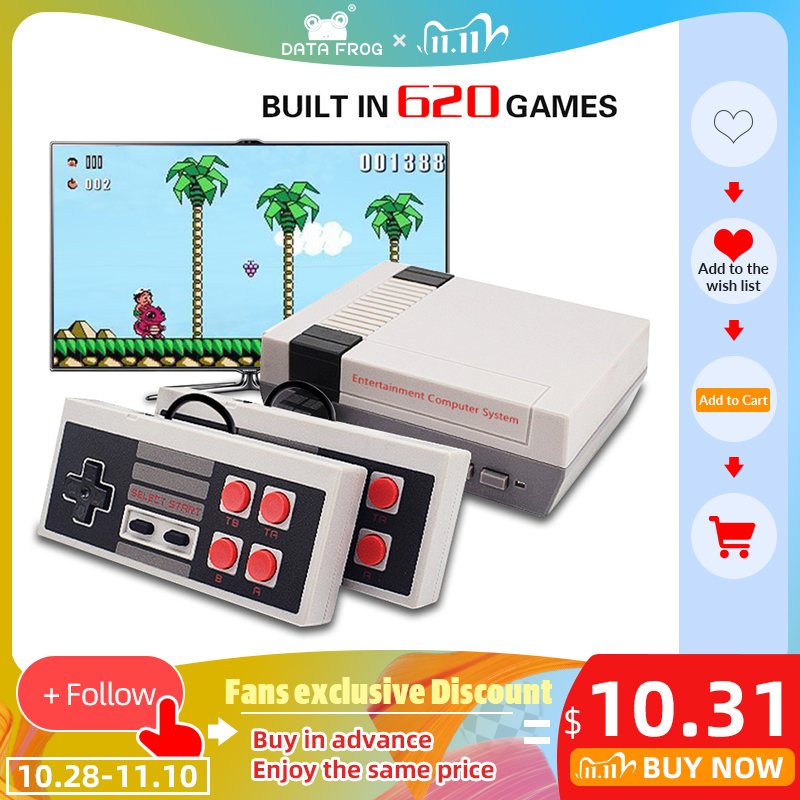 DATA FROG Mini TV Game Console Support HDMI AV 8 Bit Retro Video Game Console Built-In 600 620 Games Handheld Gaming Player