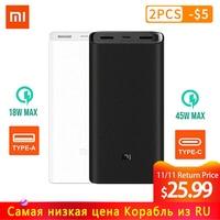 Original Xiaomi Power Bank 20000mAh 2C External Battery portable charging Dual USB QC3.0Mi 20000 mAh Powerbank charger for phone