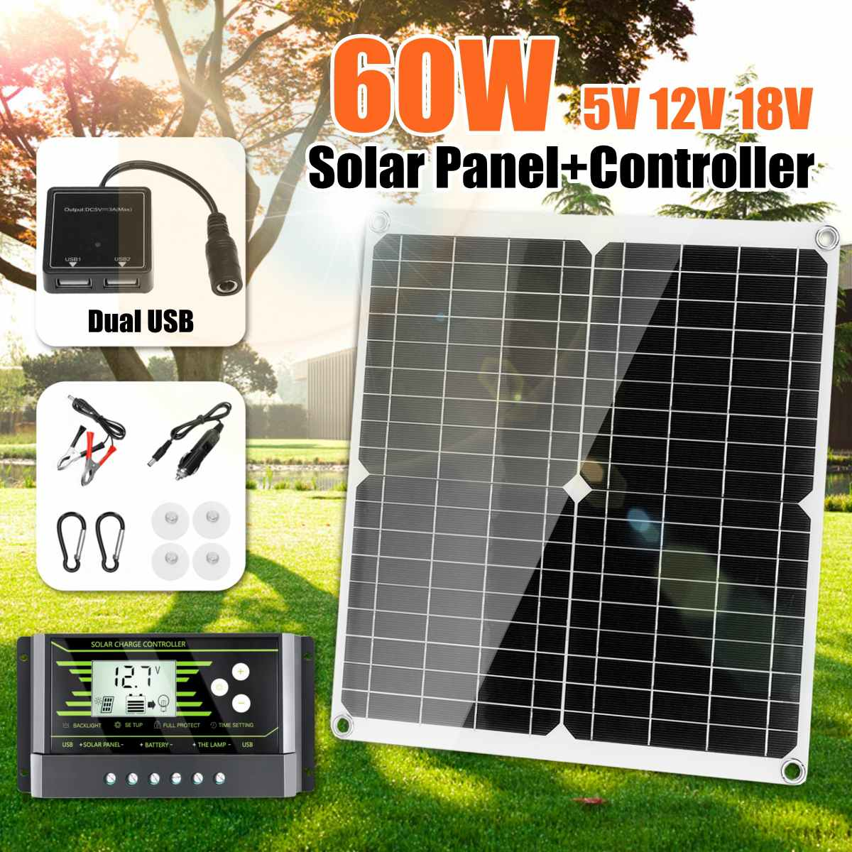 60W 18V DC Mono Solar Panel Dual USB 12V/5V With 10/20/30D Controller Flexible Solar Charger For Car RV Boat Battery Charger