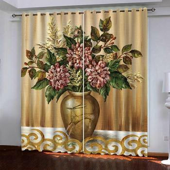 Luxury Blackout 3D Window Curtains For Living Room Bedroom Customized size gold flower curtains blackout curtains