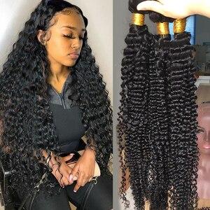 Бразильские волнистые волосы Fashow, 1/3/4 пучков, глубокие вьющиеся волосы, 30 32 34 36 дюймов, натуральные человеческие волосы, толстые пряди, волос...