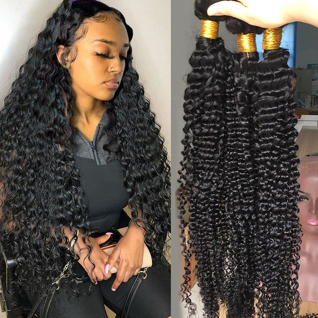 Fashow Brazilian Deep Wave Hair 1/3/4 Bundles Deep Curly Hair Weaves 30 32 34 36 Inch Natural Human Hair Thick Bundles Remy Hair