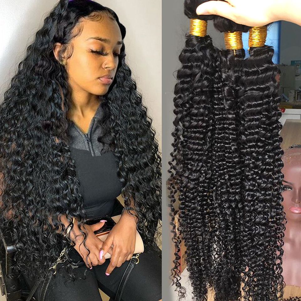 Fashow Brazilian Deep Wave Hair 1/3/4 Bundles Weave 30 32 34 36 Inch 100% Human Hair Natural Hair Thick Bundles Remy Hair Weaves