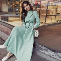 Autumn Winter Solid Corduroy Dress Women Retro With Belt Long Sleeve Midi Dress A Line Vintage Dresses