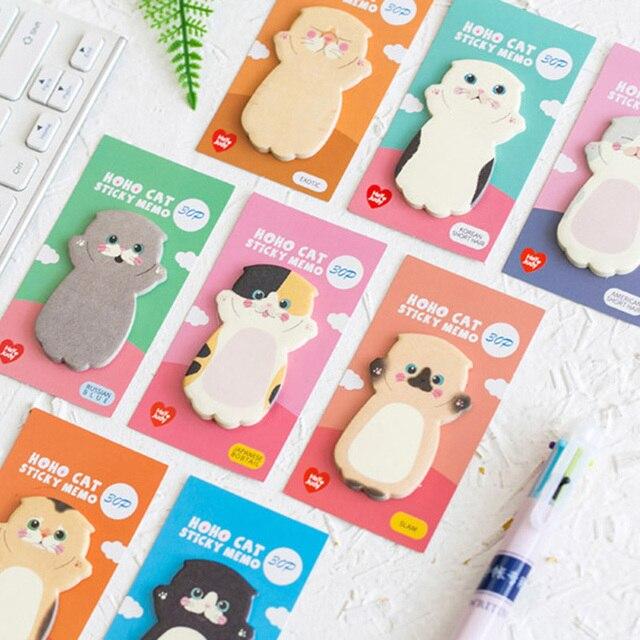 Lovely Cat Sticky Note Cartoon Cute Cat Shape Memo Pads 40pcs/lot