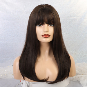 Image 2 - EASIHAIR Long Dark Brown Straight Synthetic Wigs with Bangs Natural Wigs for Women African American Heat Resistant Cosplay Wigs