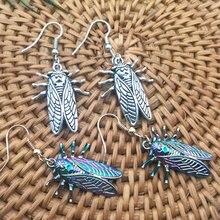 Новый дизайн! Психоделические серьги цикады на удачу с насекомыми