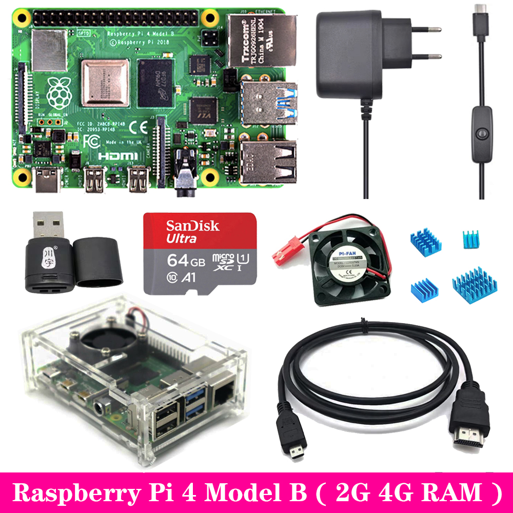 Original Raspberry Pi 4 2GB 4GB RAM With Acrylic Case Power Supply Adapter Aluminum Heat Sink For Raspberry Pi 4 Model B Pi4 4B