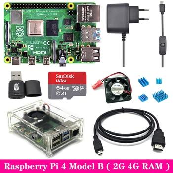 Original Raspberry Pi 4 2GB 4GB RAM with Acrylic Case Power Supply Adapter Aluminum Heat Sink