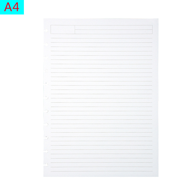 A4 Loose-leaf Refill Mushroom Hole Notepad Dedicated Horizontal Line Blank 3 Formats Writing Paper Lace Inside Page DIY Binding