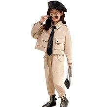 Çocuk kargo giysileri katı renk eşofman kızlar için ceket + pantolon kostümleri kızlar için genç çocuk spor elbise