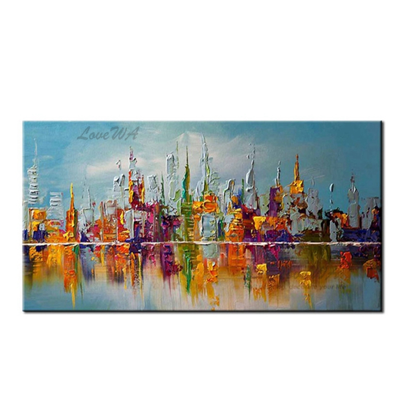 Abstract City Landscape Art 100% Handmade Oil Painting Modern Canvas Large Size Paintings Canvas Wall Art Pictures for Home Wall