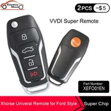 KEYECU Xhorse VVDI2 evrensel 4 düğmeler uzaktan araba anahtarı Ford MINI programcı VVDI anahtar aracı MAX İngilizce sürüm XEFO01EN