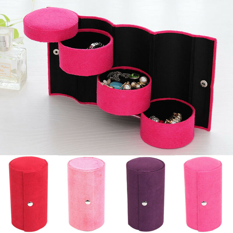 Portable Jewelry Box 360° Rotating Necklace Bracelet Ring Storage Organizer Travel Jewellery Holder Case